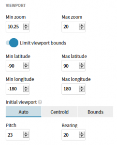 Graphic showing the base map controls for Flourish Studio